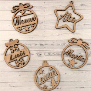 Bolas adorno madera personalizadas navidad