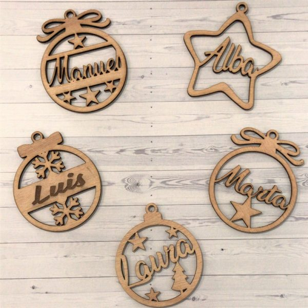 Bolas adorno madera personalizadas